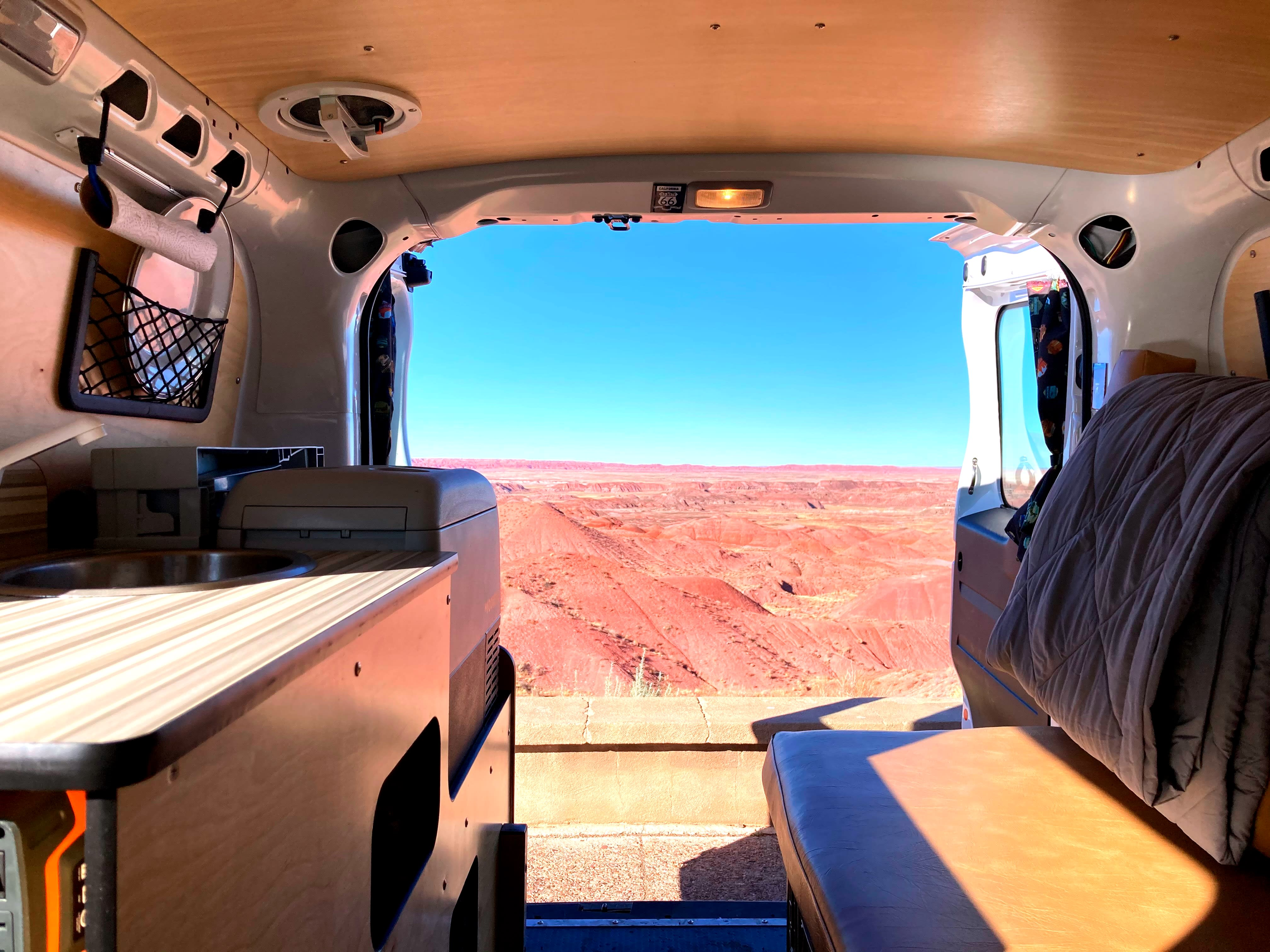 At the Painted Desert NP in Arizona...   Kitchen unit and padded bench seating bring the outdoors inside.. RAM ProMaster City 2020