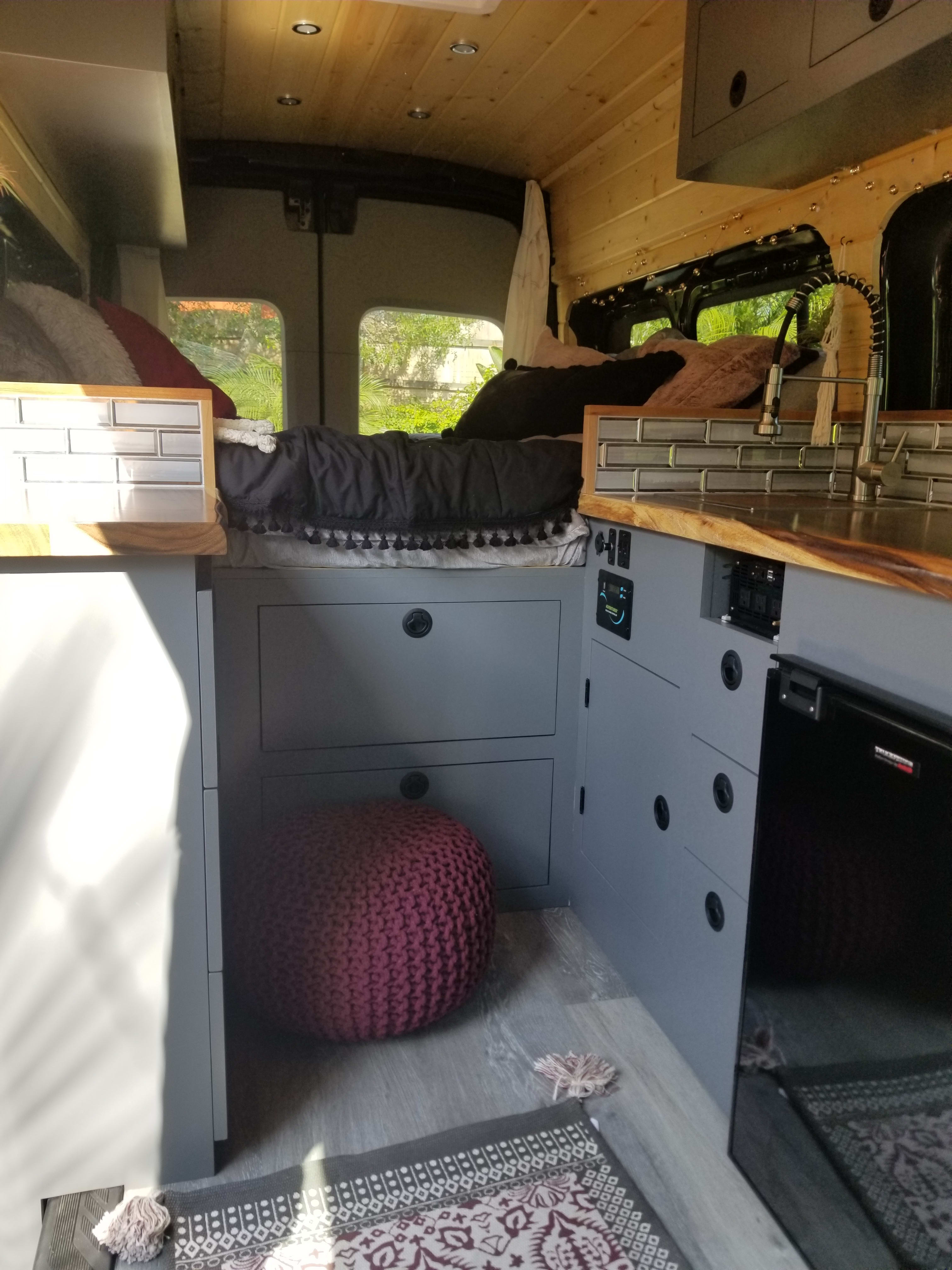 Lots of drawers and upper cabinets for storage.. Ford Transit 2019