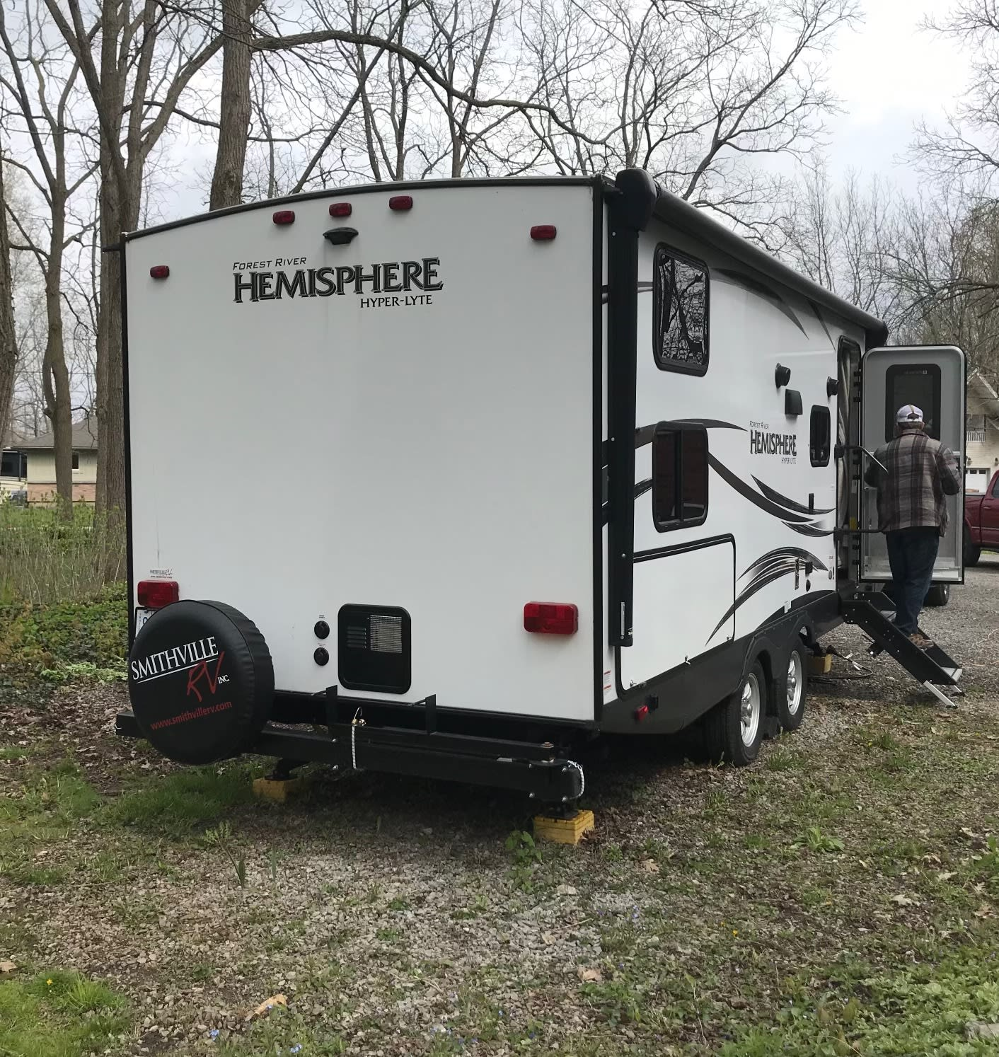 The hot water tank is located at the rear with easy access. It has electric start when the propane is turned on.. Forest River Hemisphere Hyper-Lyte 2018