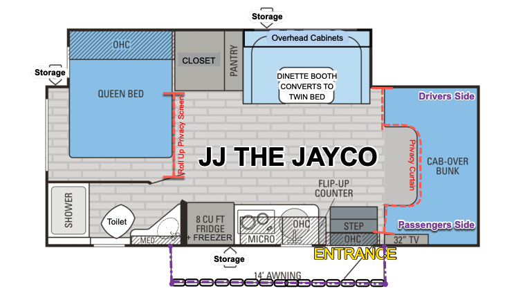 One of the most loved floorplans of all Class C's- spacious and roomy! WITH RARE, FULL-WALK-AROUND BED. Jayco Melbourne 2017