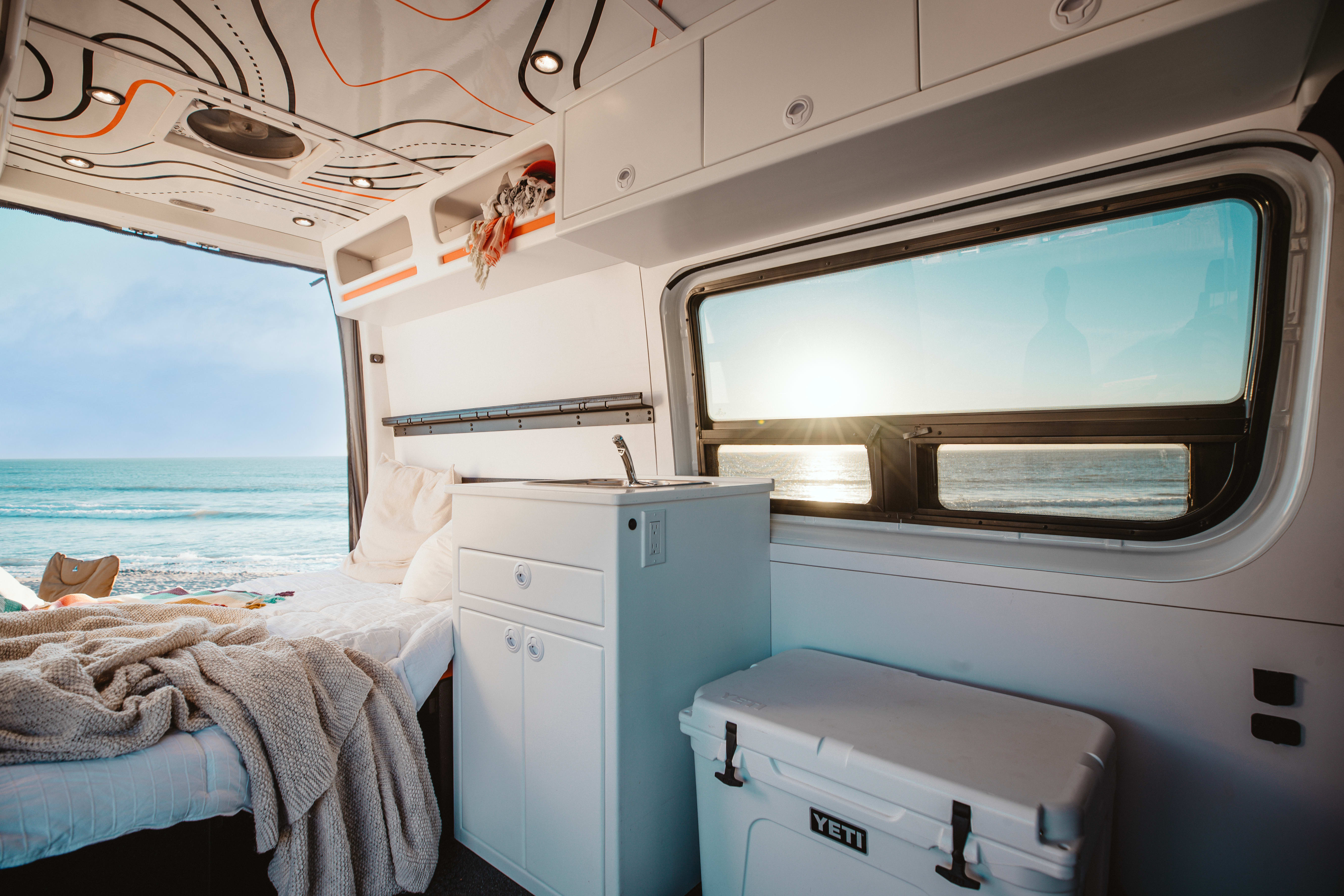 The dinette converts to lower bed You can remove the top bed for an open concept roomy van.. Mercedes-Benz Sprinter 2020