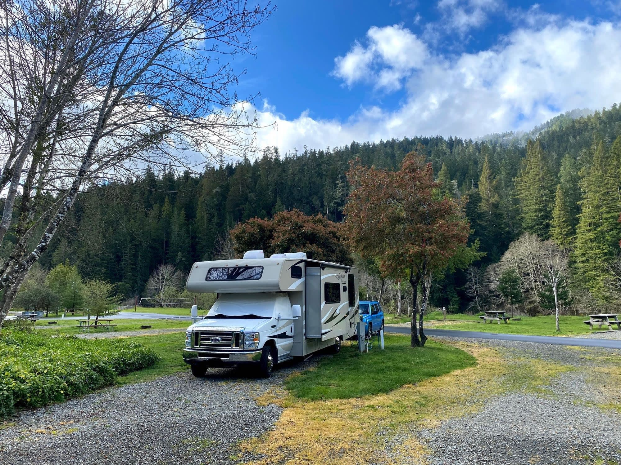 This renter submitted photo was taken at a campground near the Avenue of the Giants.. Coachmen Leprechaun 2015