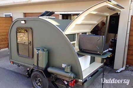 "0Custom Teardrop - ""The General"" Military Themed with Clamshell Kitchen!  Auburn, CA"