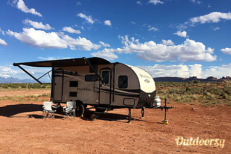 Off grid camp in Moab in our new trailer NO TOW VEHICLE NEEDED! We deliver and pick up the RV  trailer in Moab desert campground  Moab, UT
