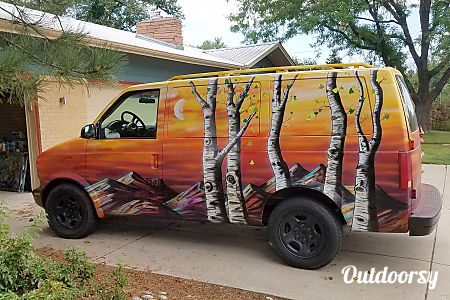 """The Sunriser"" 2004 Chevrolet Astro Van Fun Camper Conversion by Denver Artist Mr. Mizu  Denver, Colorado"