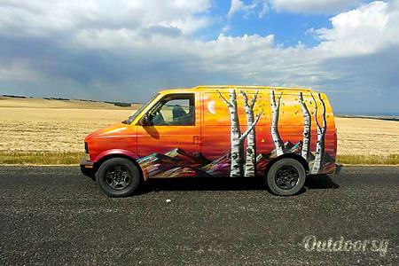 "0""The Sunriser"" 2004 Chevrolet Astro Van Fun Camper Conversion by Denver Artist Mr. Mizu  Denver, CO"