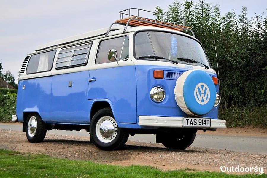 campervan rentals in London - Beau the blue VW bus