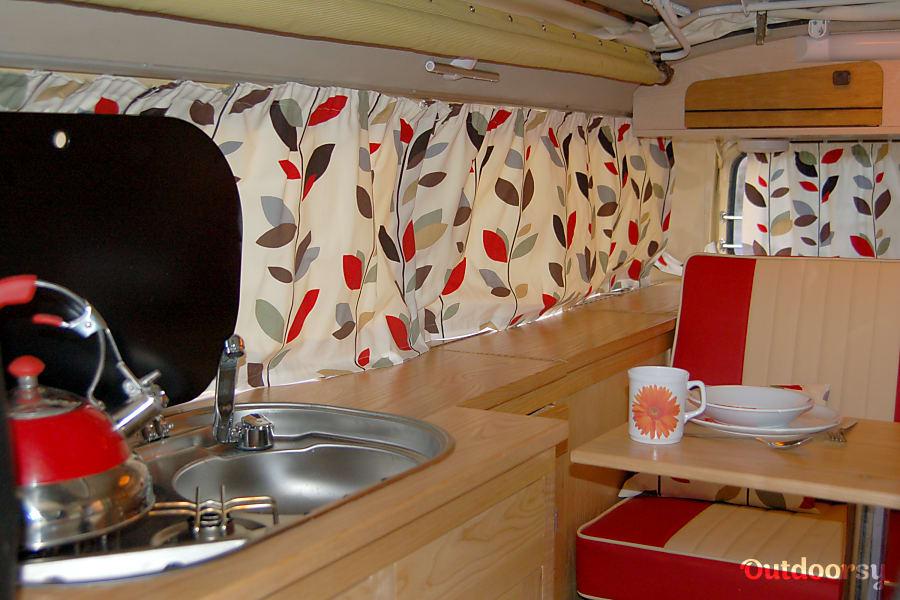 campervan rentals in London - Orla Kiely curtains inside Mango
