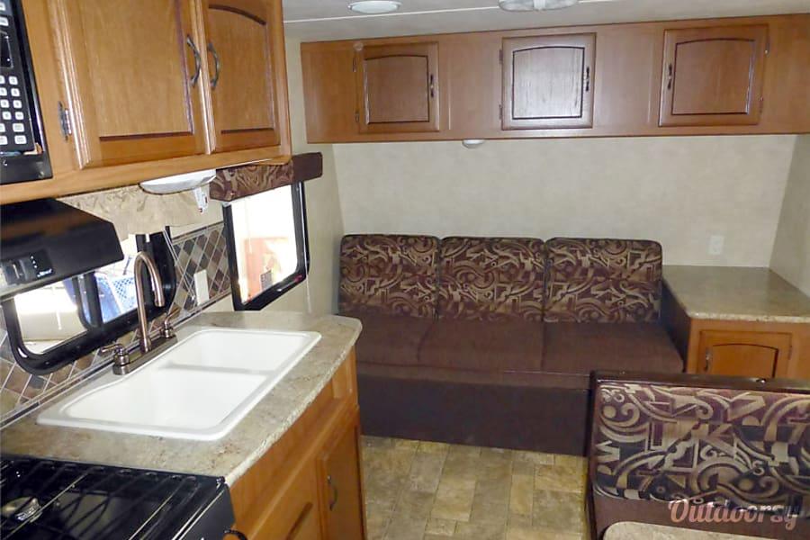 18' Wildwood Travel Trailer With Bunk Beds (T1) San Marcos, CA Sink & Sofa