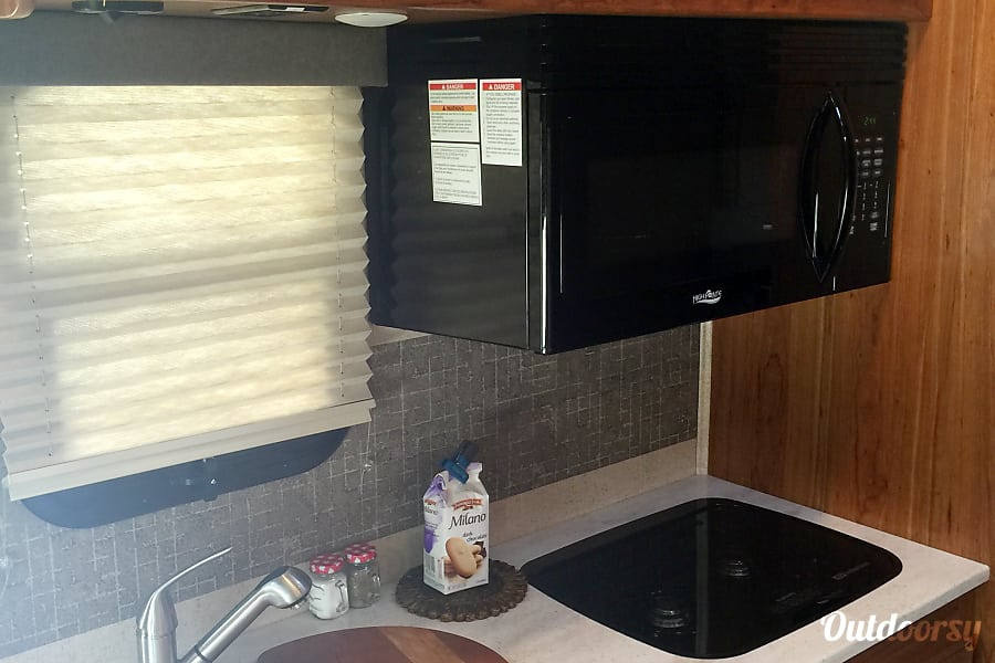 The Golden Glamper Novato, California The surprisingly roomy kitchen with microwave/convection oven and two burner gas stove