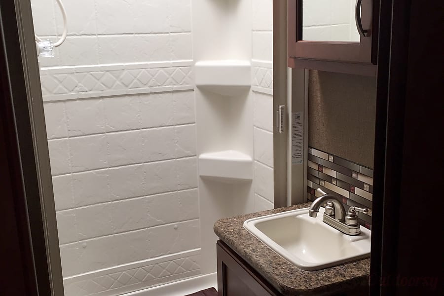 2016 Thor Motor Coach Chateau Oakhurst, CA Bathroom with Sink, Toilet and Shower