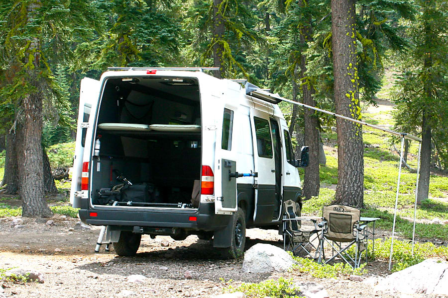 """""""GUS"""" THE SPRINTER ADVENTURE VAN -  RENO/TAHOE / AWESOME WAY TO GET OUT, STAY OUT, BE COMFORTABLE Reno, NV The rear doors fold back and are anchored by magnets so they will not swing by themselves. Convenient bike stand mounted to the rear door for you cycle tunes!"""