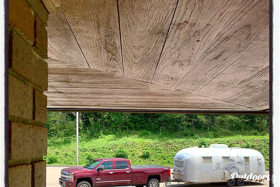 "2016 Chevrolet Silverado 3500 High Country Duramax Jemez Springs, NM ""Big Red"" in western Pennsylvania, towing Mahogany (our 1961 Airstream Overlander) from New Mexico back to DC for the big restoration."