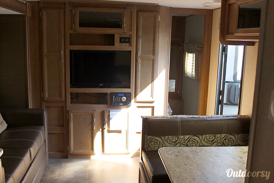 2017 Coachmen Apex Holly Springs, NC TV area.  TV turn around to watch TV in the master area.  Entertainment system has DVD, Bluetooth, FM/AM, TV, and Aux.