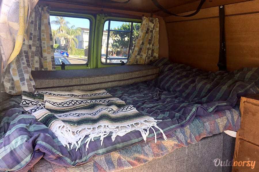 Green Machine with Turf Rooftop! San Diego, CA Bed and surfboard straps, fits 3 boards and can store more boards or other supplies underneath the bed or on the roof.