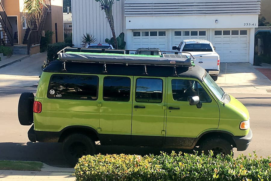 Green Machine with Turf Rooftop! San Diego, CA Side of van, rooftop and stored awning