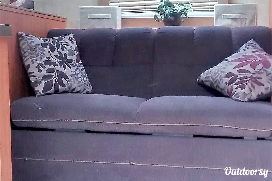 2013 Forest River Cherokee Grey Wolf Flat Rock, NC This comfy couch becomes a bed for your child.