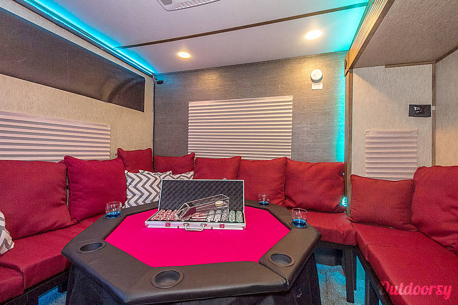 Ultimate tailgater/ hospitality trailer Boston, MA Around Lounge with a poker table set up