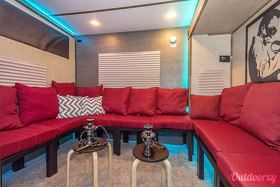Ultimate tailgater/ hospitality trailer Boston, MA Around lounge with a hook set up
