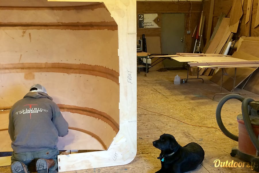 """2015 Teardrop Camper Jackson, WY Using """"stitch and glue"""" construction to build the exterior """"hull"""" in the mold."""