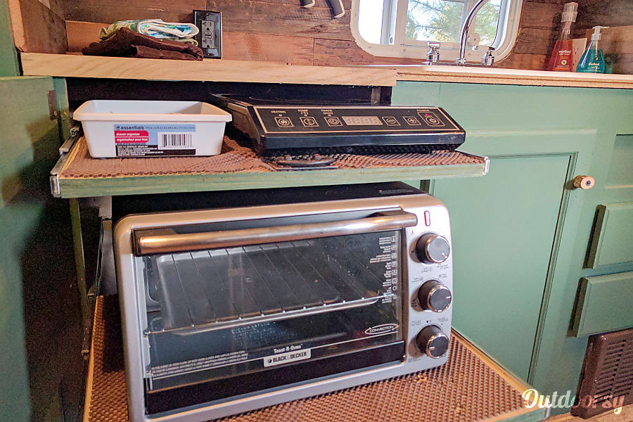 Doug Fir Portland, OR Pull out toaster oven and single burner induction cooktop