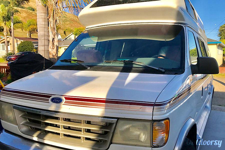 "exterior Meet ""Atlas""  1992 Ford Camper Van Coachman Pismo Beach, CA"