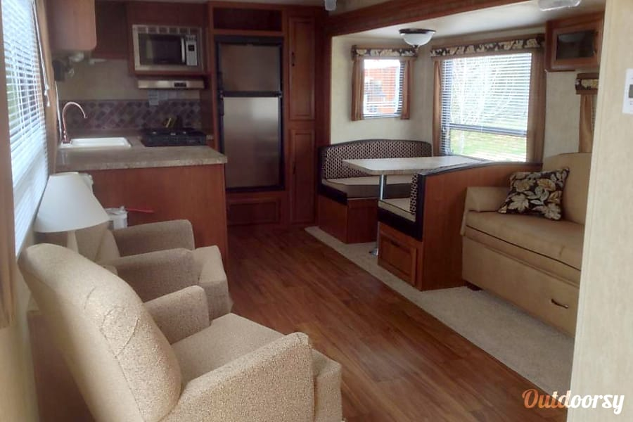 """Happy Camper"" 2013 Forest River Salem Cleveland, TN Living Room, Dinning Room and Kitchen"