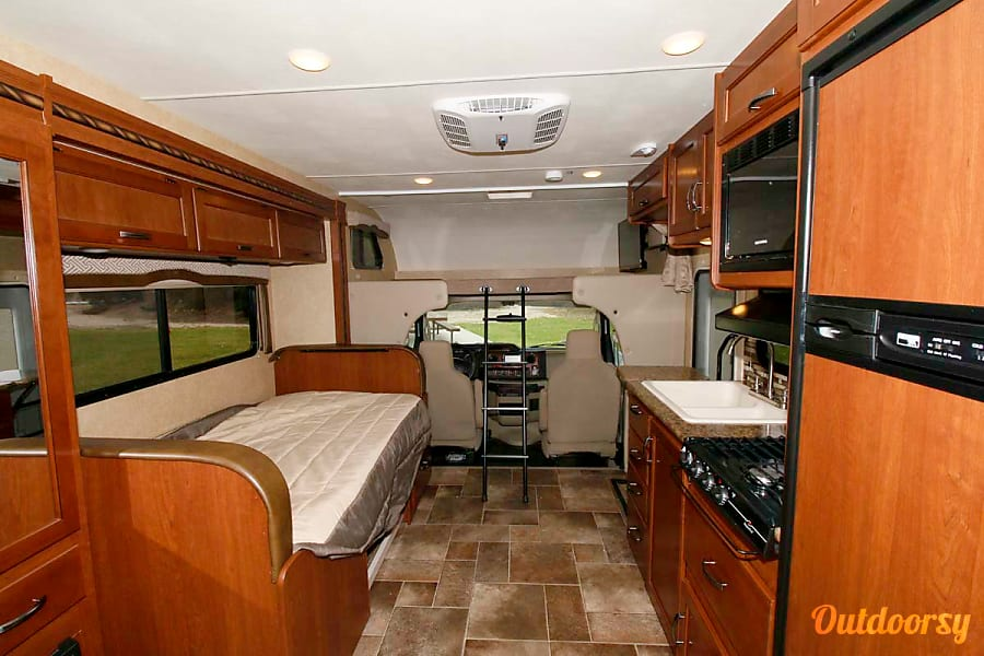 2017 Thor Motor Coach Chateau Laguna Woods, CA Showing dinette converted to super twin, as well as cab over bunk, which is queen size.
