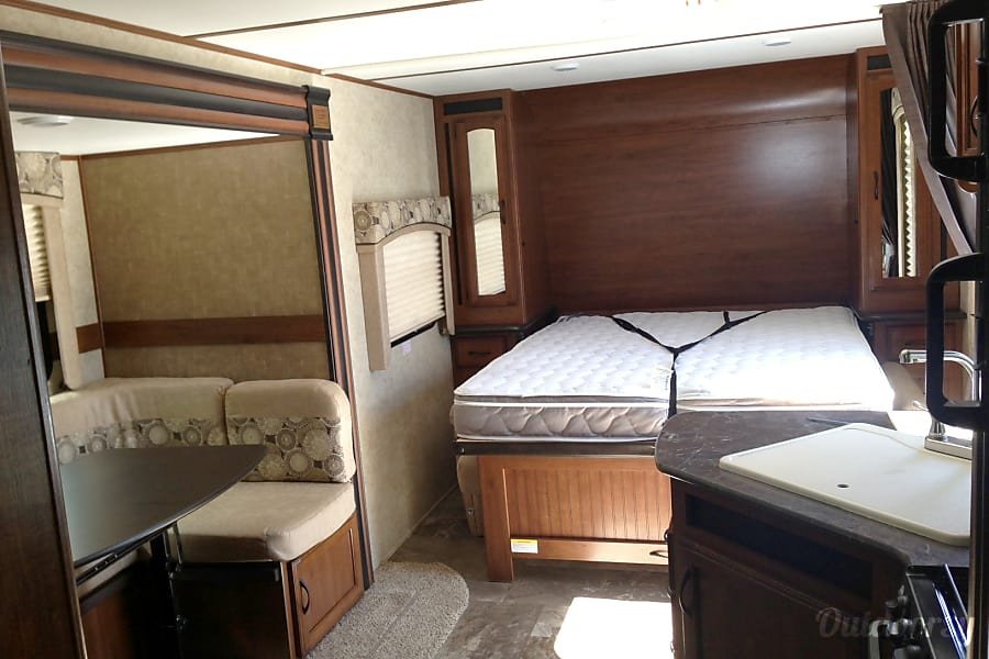 Jayco Jay Feather Grand Junction, CO The couch folds out of the way so that the sleeper can fold down