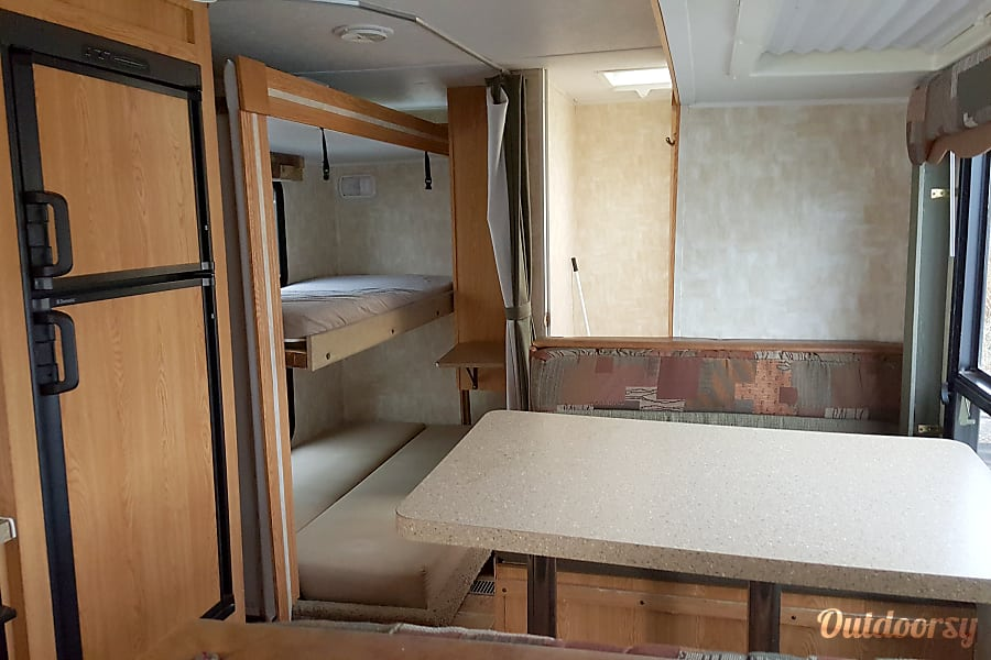 Cherokee Lite Grand Junction, CO Kitchen, dinette and bunks areas
