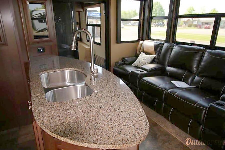 2015 Dutchmen V3990 Boise, Idaho Kitchen;  heated seats, end seats have massage