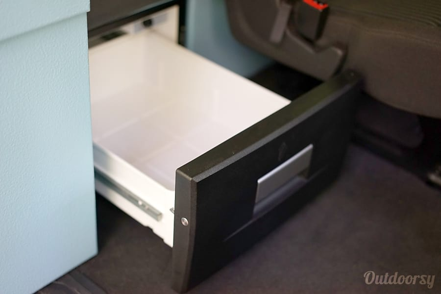 2016 Ford Transit Campervan #1 South San Francisco, CA The refrigerator is easily accessible from outside or inside the van, with or without the doors open, with the bed made. Refrigerator: 8 Gallon (30 liters) powered by dual battery.