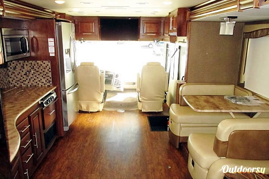 2017 Coachmen Mirada Select 37 SB Richmond, TX 3 sliders for more room.  You can even put an airbed on the floor to sleep more people