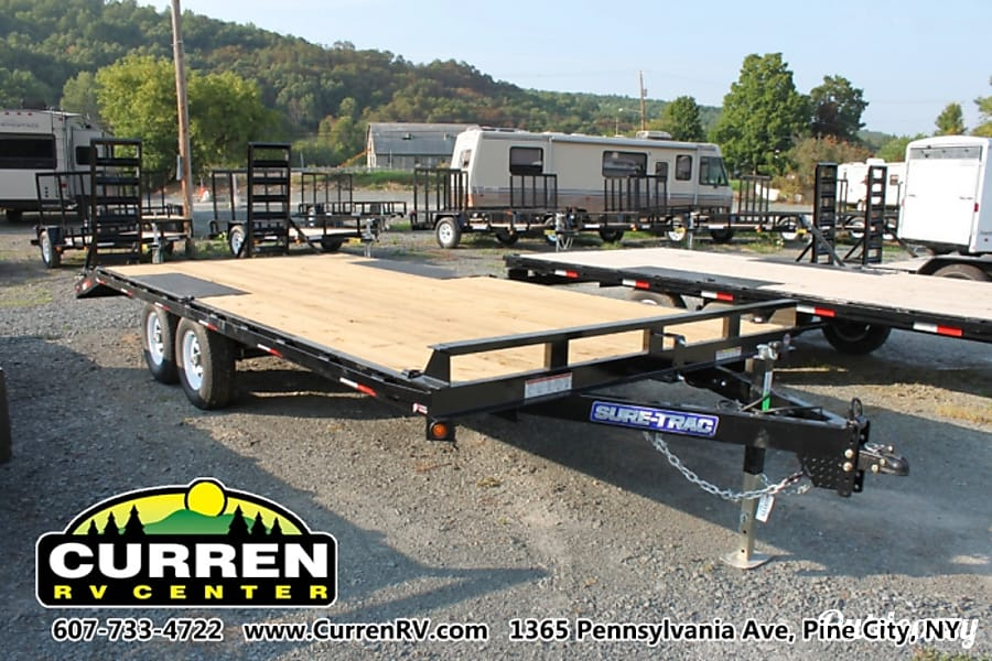 exterior 2016 Sure-Trac 8.5x20 (17' flat + 3' beavertail) 10k Equipment Trailer Pine City, NY