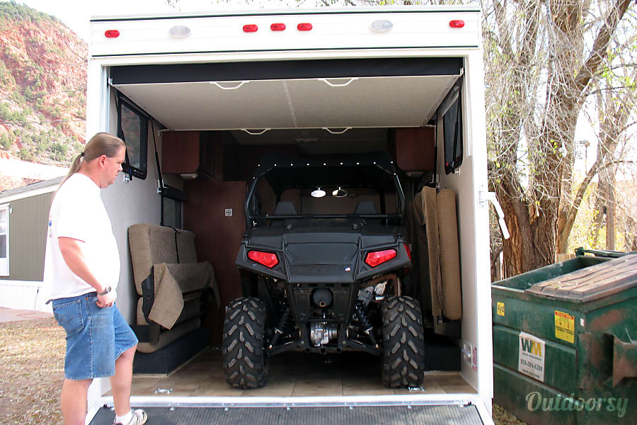 interior Adventure awaits! 2013 Toy Hauler, only 16 f.t long for hard to reach locations but custom made to fit a trail rated side by side ATV! Silt, Colorado