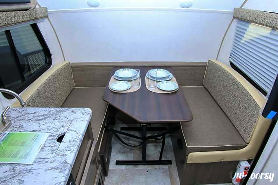 The POD Fort Worth, TX Comfortable dinette that makes a full size bed