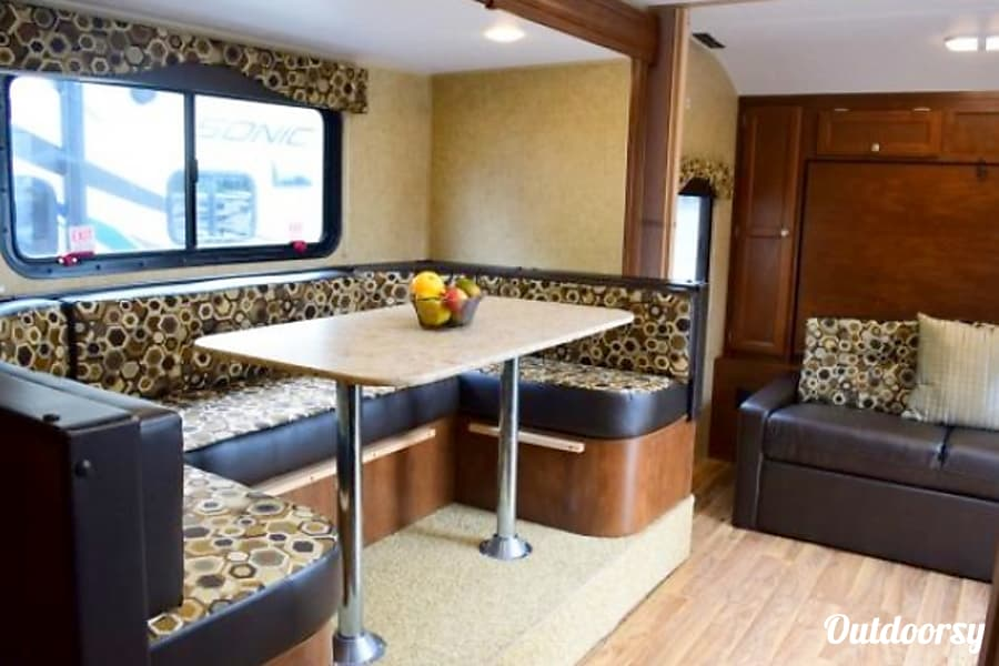 2016 Venture RV Sonic Rexburg, ID U shaped dinette - perfect for food and fun together