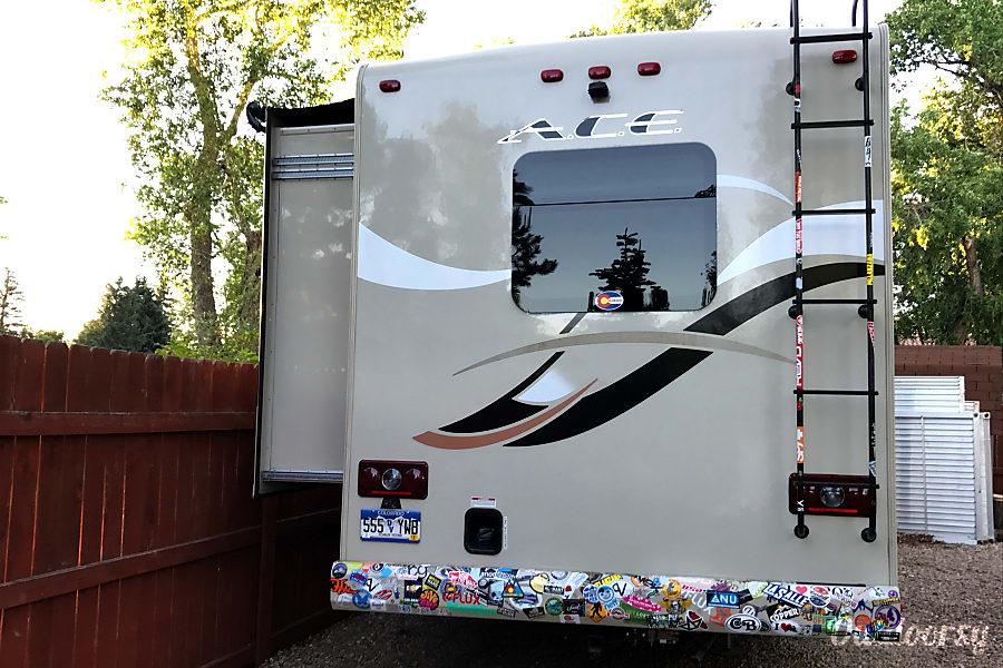 2015 Thor Motor Coach A.C.E Colorado Springs, Colorado Rear camera, and driver-side slide with awning.