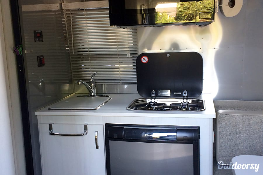 2016 Airstream Sport Portland, OR Sink, stove top and fridge