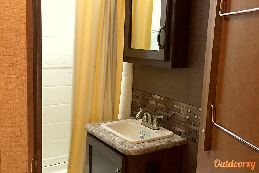 2017 Thor Motor Coach Chateau Temecula, California bathroom with full shower