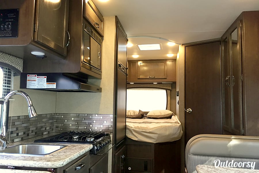2017 Thor Motor Coach Chateau Temecula, California Kitchen and back bed room