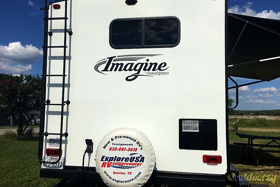 2017 Grand Design Imagine RB San Antonio, Texas Rear view with awning extended.