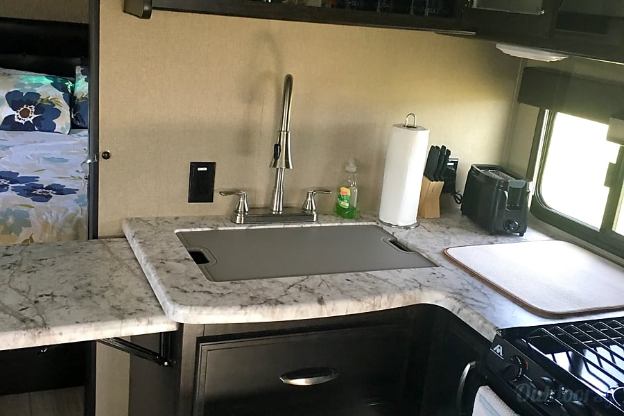 2017 Grand Design Imagine RB San Antonio, Texas Kitchen view with toaster, napkins, knife set, dish soap all included