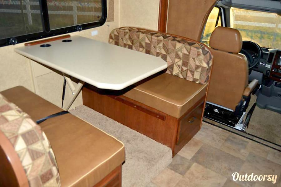 2014 Forest River Solera Flagstaff, Arizona Dinette that converts in to a bed.