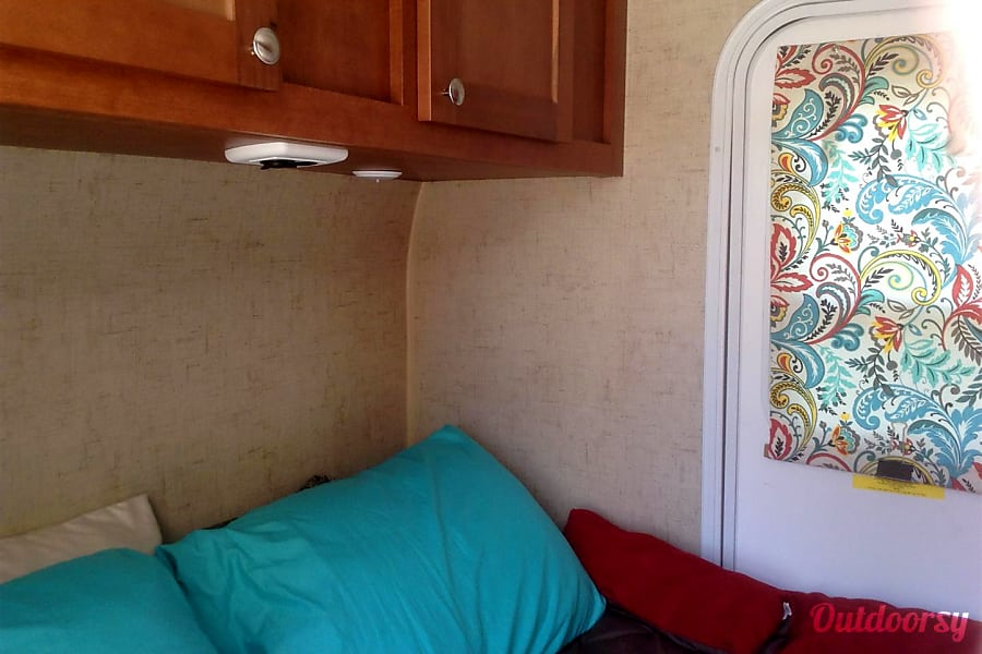 2017 Riverside Rv Whitewater Retro Boise, Idaho Sleeping area, Queen size bed that folds in half if just 1 person, giving extra space inside