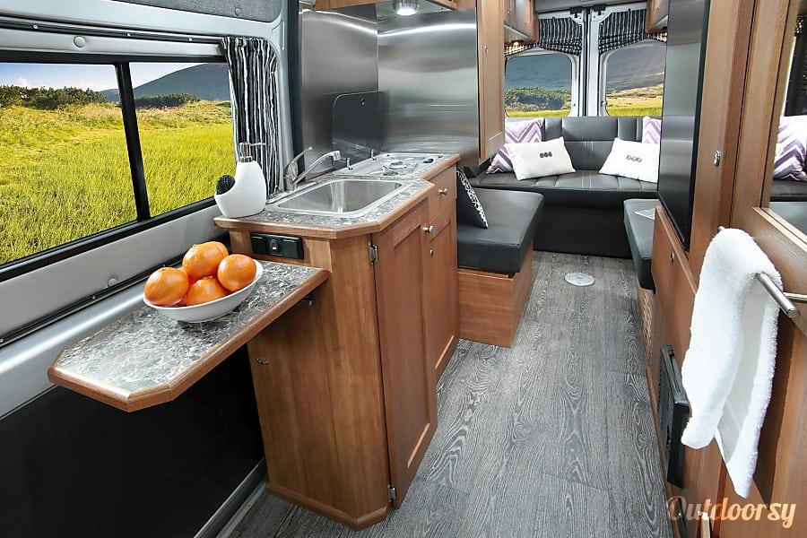 2016 Roadtrek Simplicity Phoenix, Arizona Kitchen with sink, stove & storage