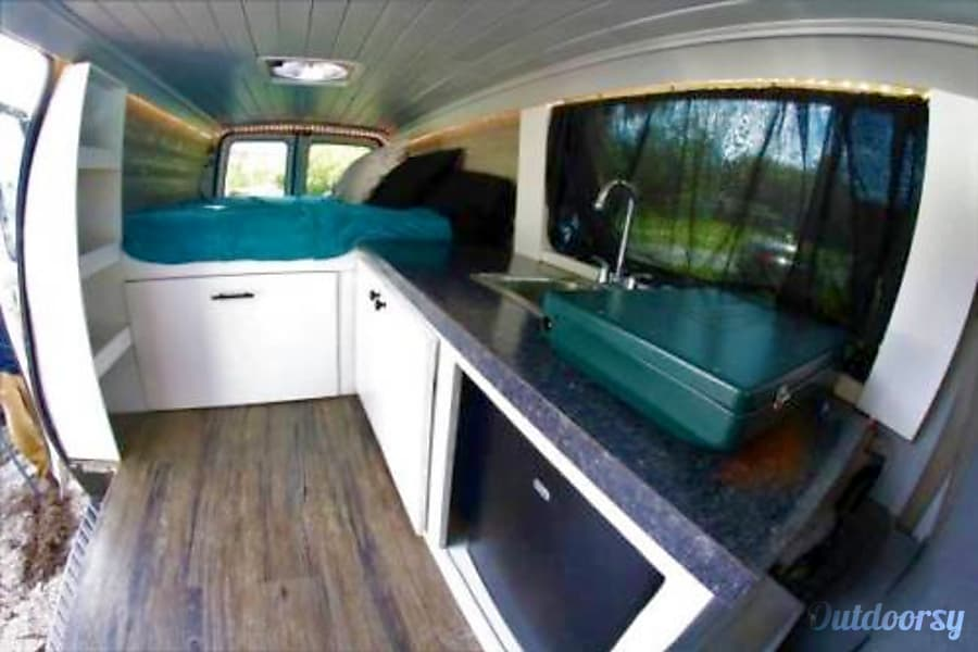interior Off-the-Grid Stealth Camper Van: Kitchen, Running Water, Bed, Storage, Electricity, Fan! Burlington, Massachusetts