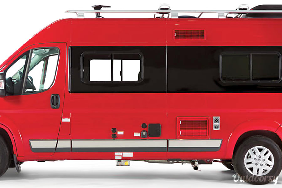 """Big Red"" 2015 Winnebago Travato - 59G in Tucson Tucson, AZ Stock photo of the driver side where you can see the propane exhaust, RV hookups and other features."