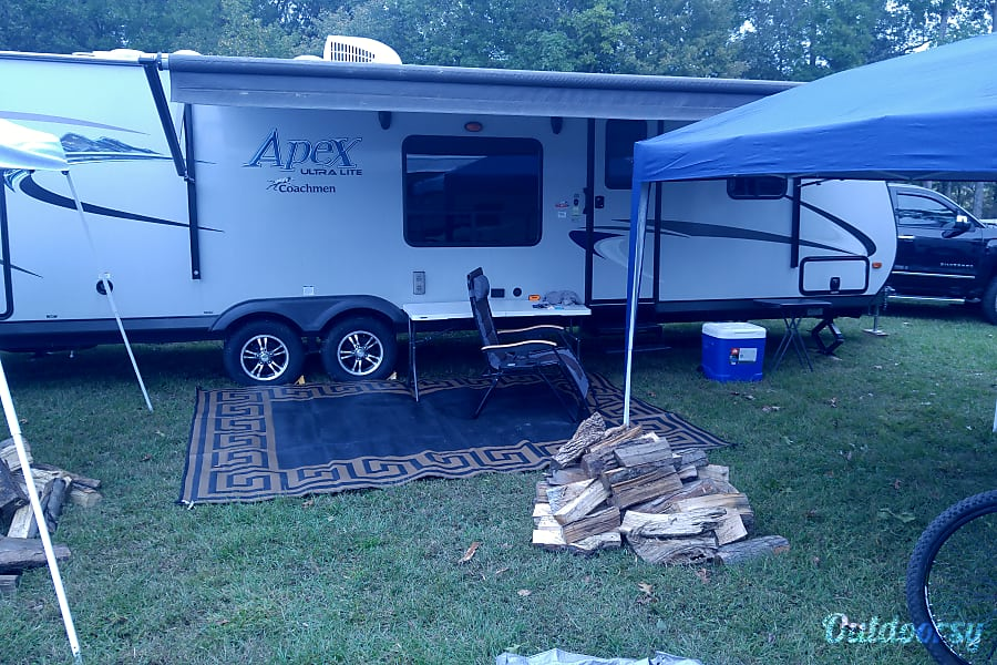 2017 Coachmen Apex Macon, GA Camper setup at outdoor event