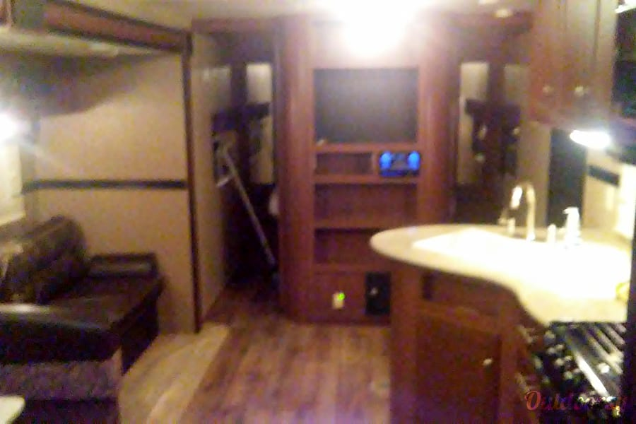 The Great Apsin Trail Axtell, Texas Master bedroom behind entertainment center. queen size mattress
